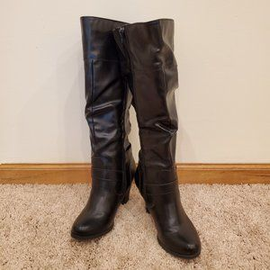 Slouchy Black Heeled Boots